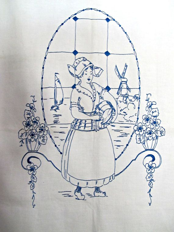 Blue Embroidery Dutch Girl Window Treatment Delft by BettyandBabs, $39.99