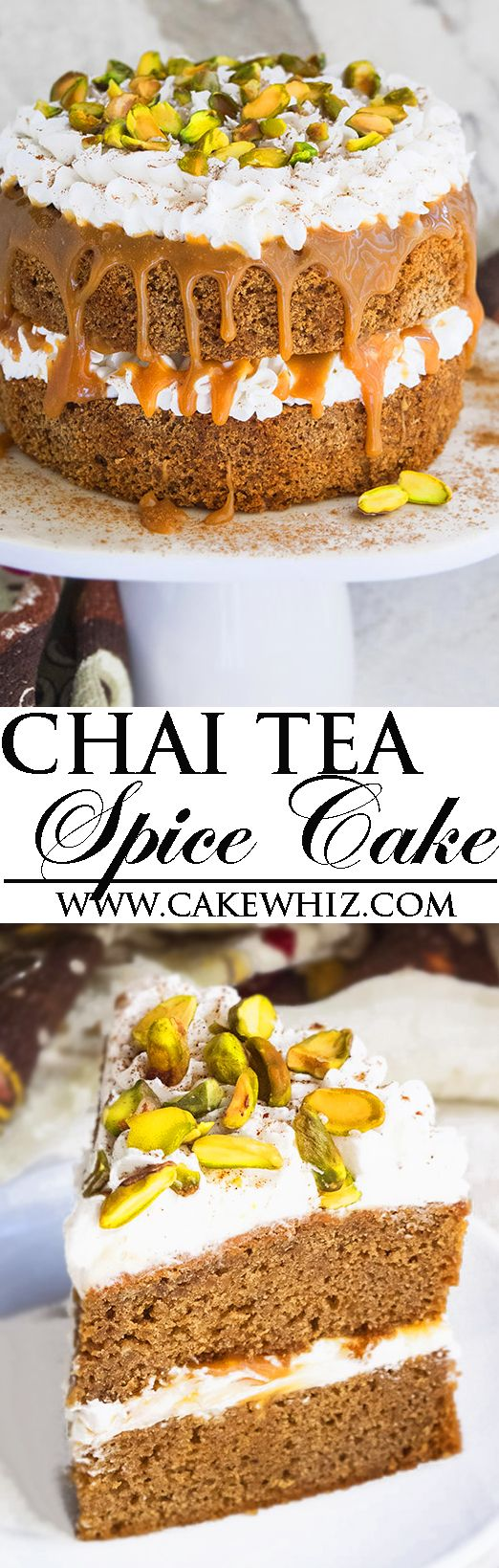 This easy CHAI TEA SPICE CAKE with buttercream frosting, caramel sauce and pistachios is the perfect Fall and Thanksgiving dessert. This chai tea latte cake is packed with spices and each bite is so soft and moist! From cakewhiz.com