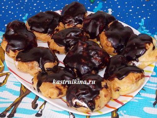 Вкуснейшие заварные пирожные с белковым кремом (мастер класс с пошаговыми фото)