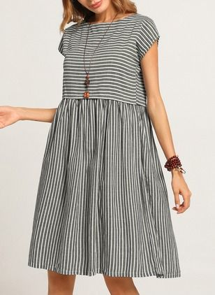 Cotton Stripe Cap Sleeve Knee-Length A-line Dress (1131963)