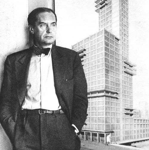 Walter Gropius (1883-1969), founder and director of the Bauhaus from 1919 to 1928, emphasizes function, efficiency, and technology in his architecture. He uses the glass curtain wall with steel and glass in the Fagus Factory, which he designs with his partner Adolf Meyer, and later in his design of the Bauhaus buildings.