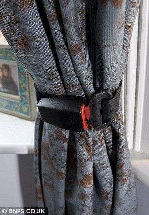 Upcycle broken seatbelts into curtain tie-backs!