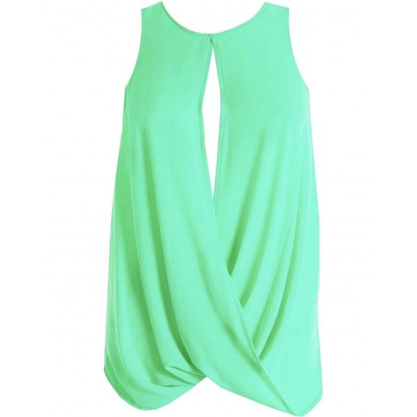LOVE Mint Drape Back Top ($11) ❤ liked on Polyvore featuring tops, shirts, tank tops, blusas, summer tank tops, mint green shirt, women tops, green top and henley shirt