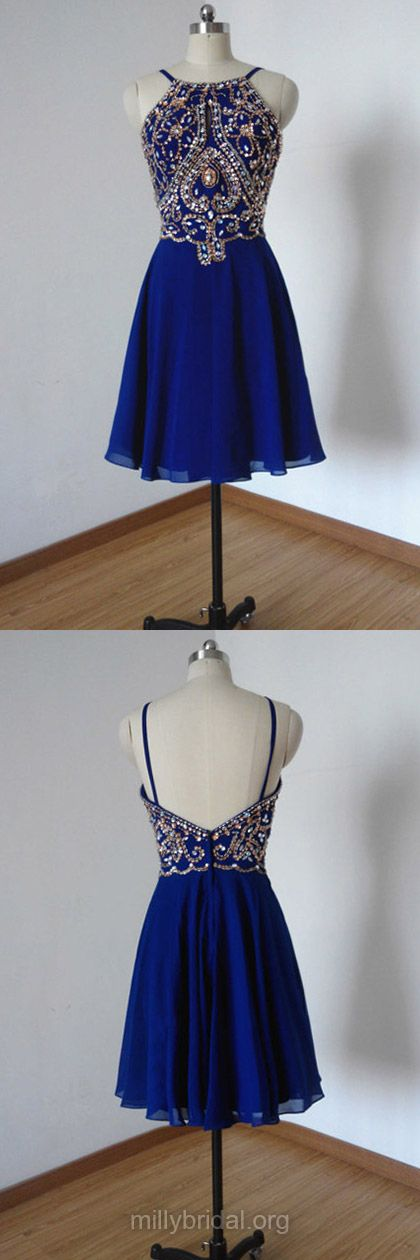 Short Homecoming Dresses,Fabulous Scoop Neck Chiffon Party Gowns,Beading Cocktail Club Dresses,Royal Blue Short Prom Dresses