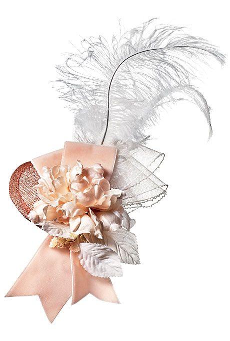 Brides: Twigs & Honey. Pale pink fascinator with ribbon, feathers, and flowers, $325, Twigs & Honey www.MadamPaloozaEmporium.com www.facebook.com/MadamPalooza