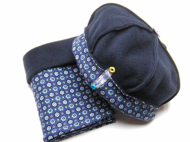 Bonnet esprit béret taille S laine polaire bleu marine et coton stretch et son col assorti : Chapeau, bonnet par filles-factory