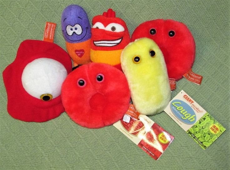 Plush MICROBES Lot COUGH Blood Cells Chicken Pox LARVA Giggling HAPPY PILL Toys #GiantMicrobes