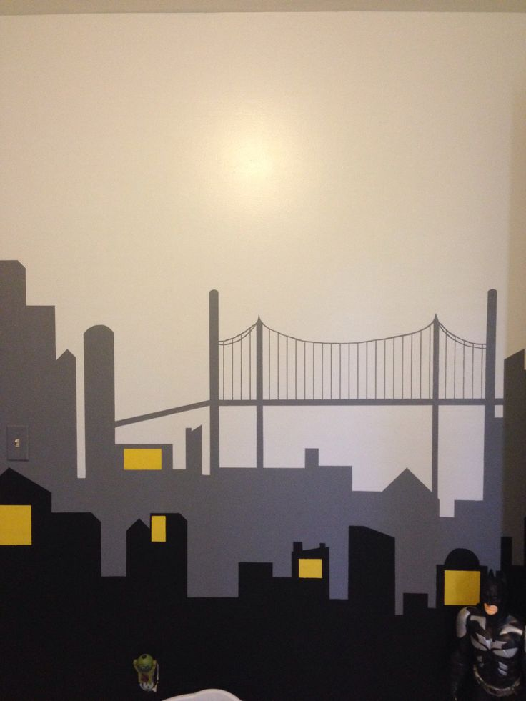 Gotham city wall mural not completely finished yet for City lights mural