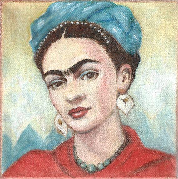Frida Kahlo in red shawl art print Mexican Folk by KarenHaringArt, $10.00