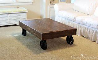 mesa de café carrinho industrial diy, diy, como a, mobiliário pintado, projetos de carpintaria