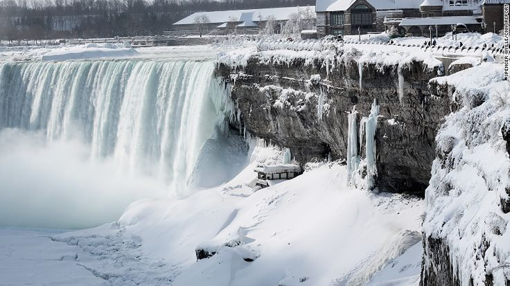 An unprecedented cold front has frozen parts of Niagara Falls, drawing tourists to document the rare event. The minus 22-degree weather.