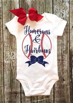 Homeruns & Hairbows Girls Bodysuit, Girls Baseball Onesie, Baseball Shirts…