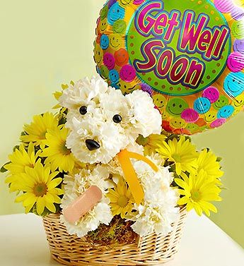 "Sick As A Dog™ - a-DOG-able® arrangement of white carnations, yellow poms and variegated pittosporum paired with a cheerful ""Get Well"" 18""D Mylar balloon $49.99 #getwellsoon #gifts #adogable #feelbetter #sick"
