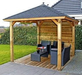 Wooden Gazebo 323 Hipped Roof Felt Tiles Outside