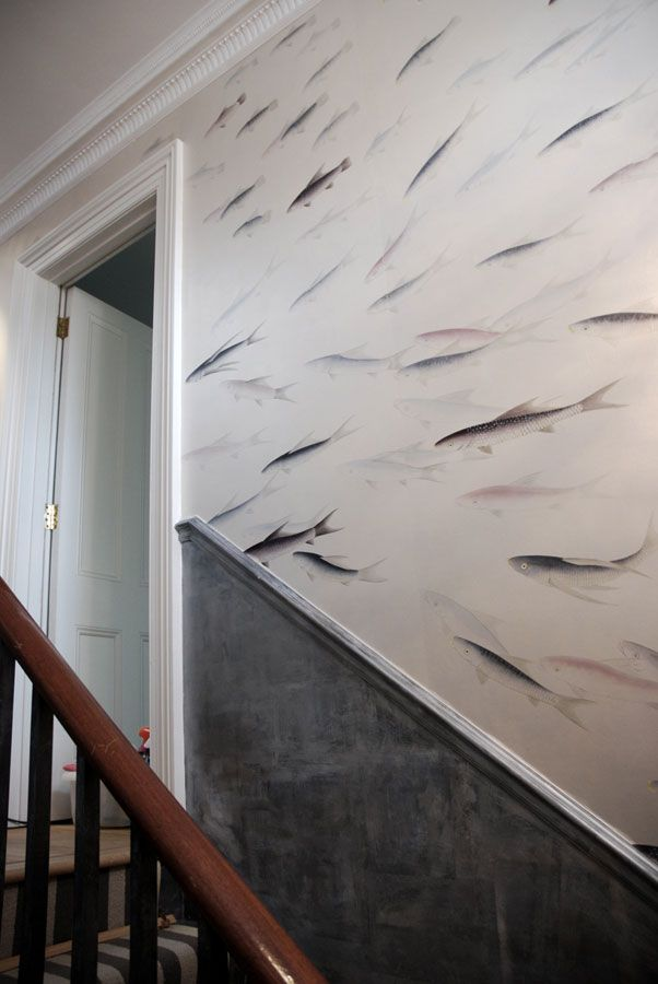 de Gournay: Japanese & Korean Collection - 'Fishes' design in Blue Pearl design colours on Custom Silver gilded paper.