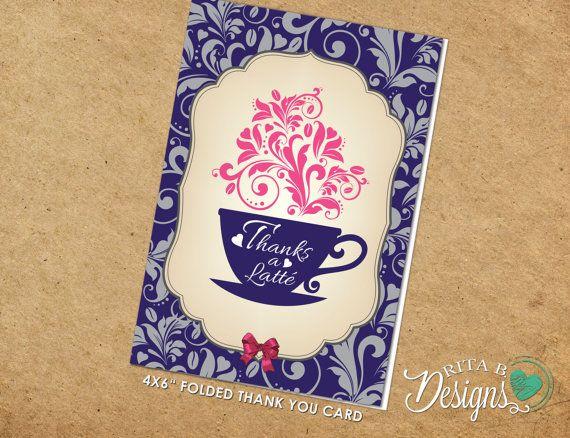 Coffee Theme Thanks a Latte Thank You Bridal by RitaBDesignsInc