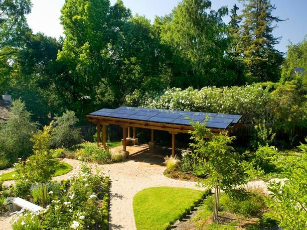 Solar Panel Installed On Top Of Garden Pavilion Serves 2