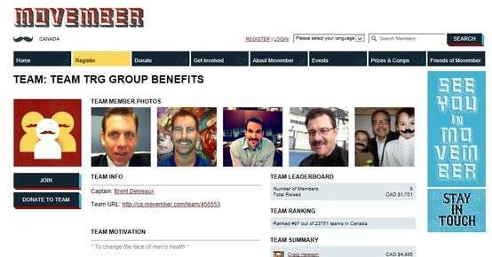 TRG Group Benefits - Movember Team - Raising Funds for Prostate Cancer - join us.