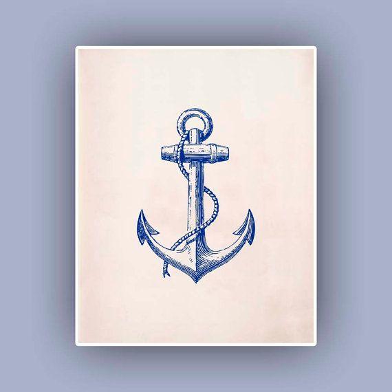 Blauer Anker drucken, Vintage Bild drucken, Marine Nautik Art, Mixed Media Collage Grafik, Coastal Living, Blue Print, Strand-Ferienhaus-Dek...