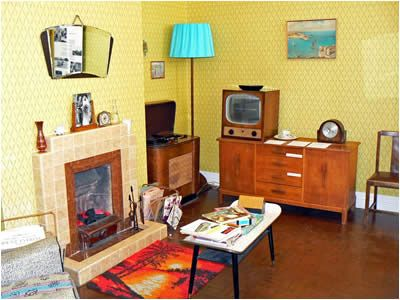 1950s home.....yeah, home sweet home. Fireplace and all...