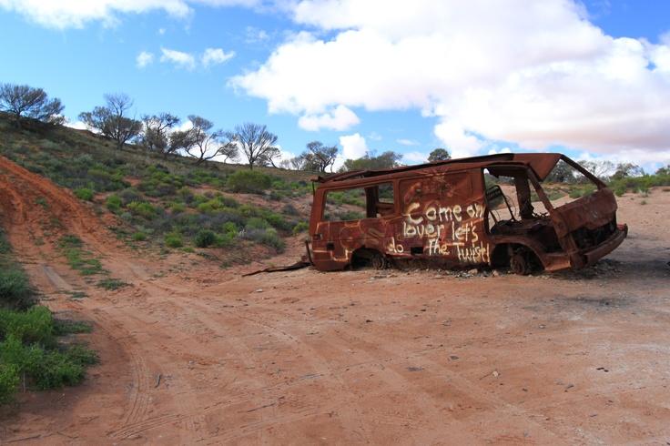 Burnt out car at Lake Hart, South Australia