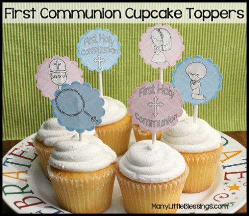 First Communion Cupcake Toppers can be made as stickers for kids to color too! Thank you for your cute Free Printables Angie!