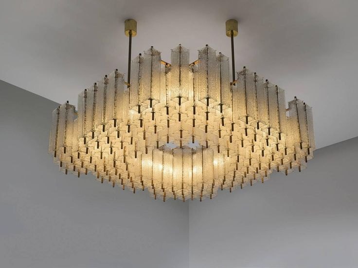 Set of Five Extra Large Chandeliers in Structured Glass and Brass | From a unique collection of antique and modern chandeliers and pendants at https://www.1stdibs.com/furniture/lighting/chandeliers-pendant-lights/