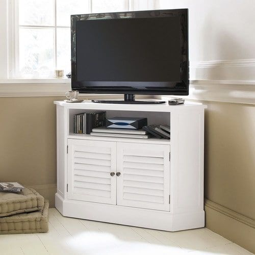 Porta-TV bianco ad angolo in legno L 75 cm