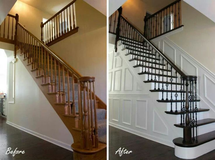 Before And After Staircase With Iron Balusters Before