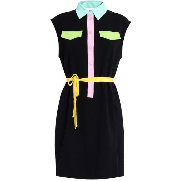 Moschino Shirt Dress (1,830 ILS) ❤ liked on Polyvore featuring dresses, black, moschino, moschino dress, sleeveless shirt dress, no sleeve dress and turquoise dress