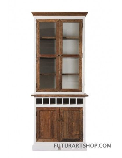 credenza Driftwood cabinet w winerack sgl
