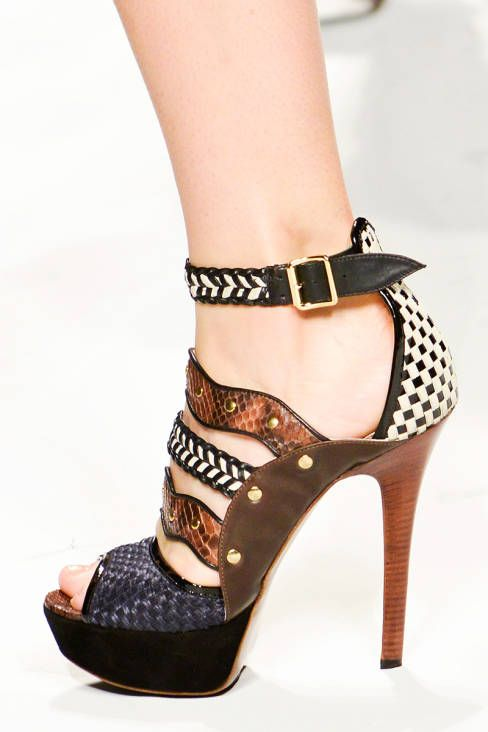 Elena Miro Stylish Material Mix Sandal Spring 2013 RTW #Shoes #Heels