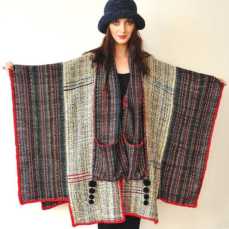 Gray and Red Handwoven Women's Poncho. €370.00, via Etsy.