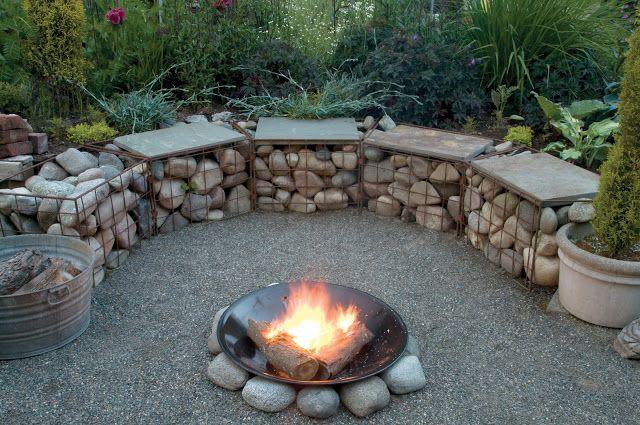 Gartenprojekt #Gabionen mit #Feuerstelle