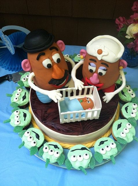 #Baby #Cake Mr & Mrs #Potato Head! With #baby! #Cute Baby #Shower Cake idea! We love and had to share!