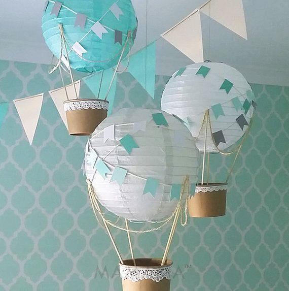 Whimsical kit Hot Air Balloon decorazione fai da te, nursery decor, Baby Shower Decor, decorazione di nozze, decorazione per una festa, viaggi a tema - set di 3