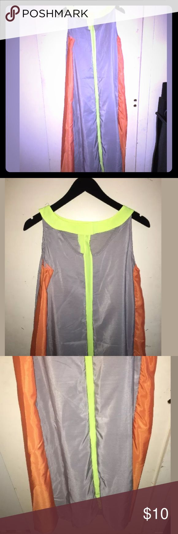 Gray Neon Orange and Yellow Maxi Dress Size Medium New women's maxi dress. Gray, neon orange and neon yellow. Brand new, tags have been removed. Unbranded Dresses Maxi