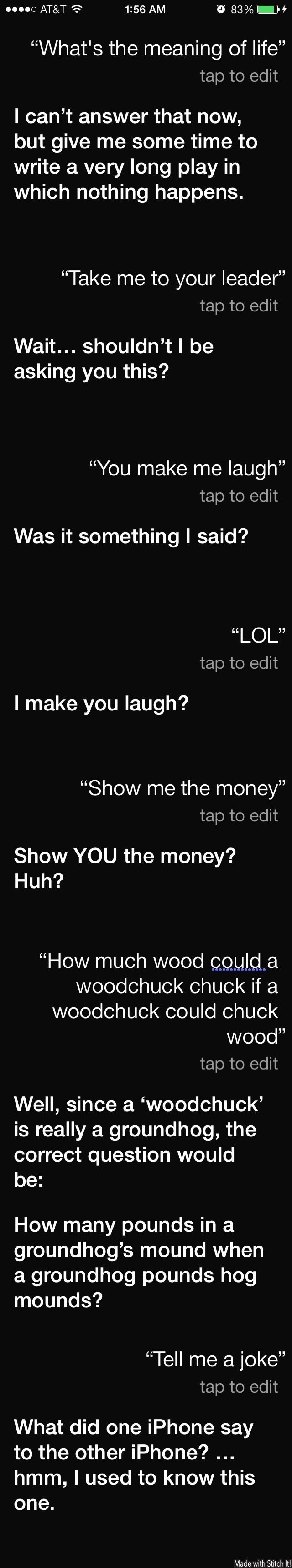 Asking Siri some funny questions....