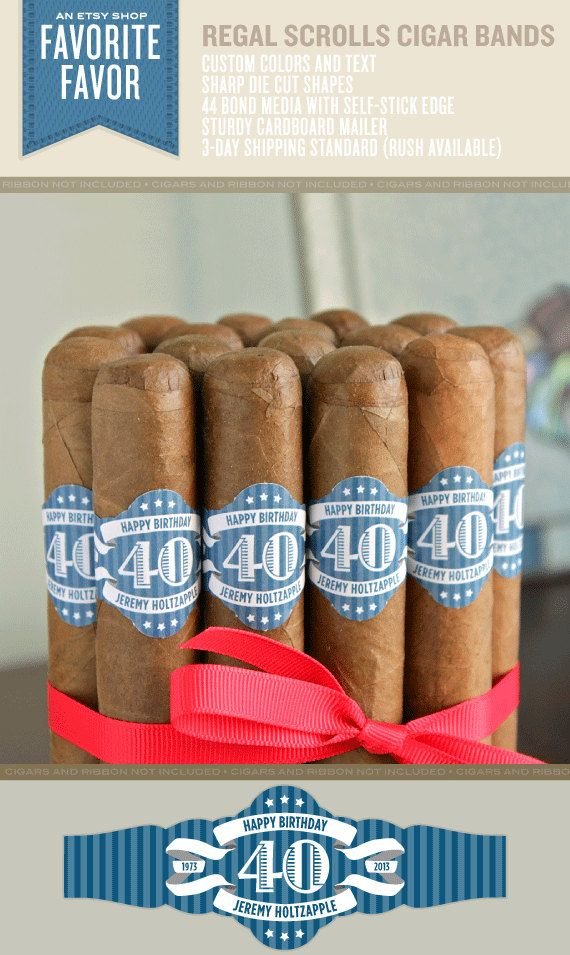 Regal Scrolls Birthday Cigar Bands - 32 Custom Printed Cigar Labels on Etsy, $44.95