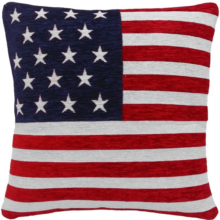 STARS AND STRIPES AMERICAN FLAG CHENILLE RED WHITE BLUE 18' THICK CUSHION COVER PILLOW CASE SHAM * Want additional info? Click on the image.