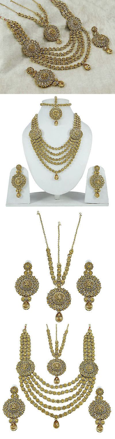 Sets 98513: 3Pc Goldtone Necklace Set Bollywood Traditional Ethnic Indian Bridal Jewelry BUY IT NOW ONLY: $33.5