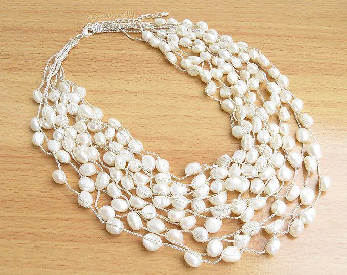 Collar de perlas de agua dulce blanco en hilo de seda, collar nupcial, joyería de la boda, multistrand collar, collar grueso