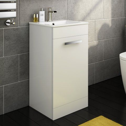 400mm Avon High Gloss White Cloakroom Basin Cabinet - Floor [PT-MV828] - £99.99 : Platinum Taps & Bathrooms