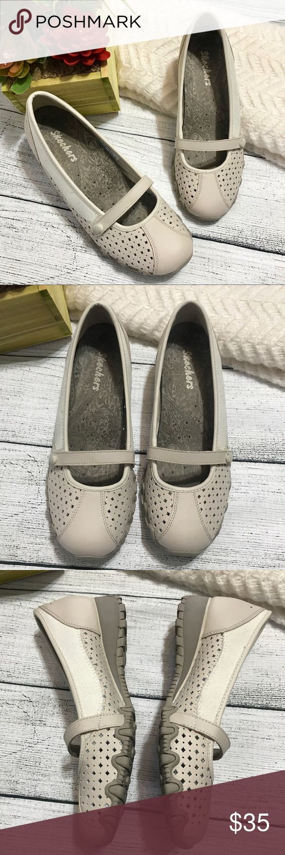 Skechers Beige Leather Slip Ons Like New 6.5 Skechers Slip-on Beige Leather Sneakers LikeNew 6.5  Eyelet details; No damage; Leather/textile upper; Skechers Shoes Sneakers