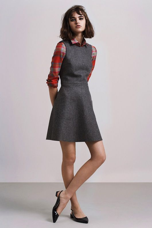 Plaid shirt over gray dress. Tried it, lovely!