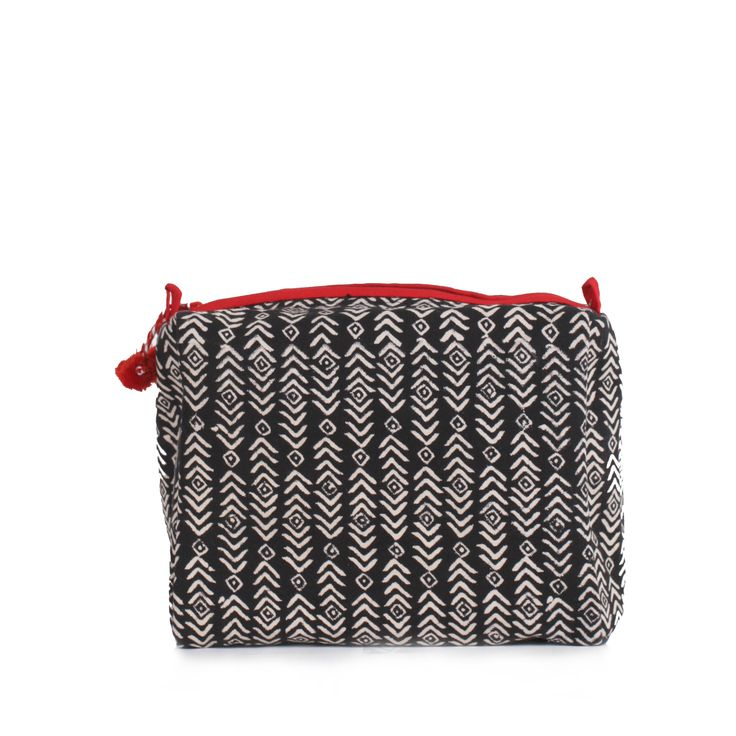 Black & Hibiscus Aztec Print Wash Bag | Bohemia Design | Wolf & Badger