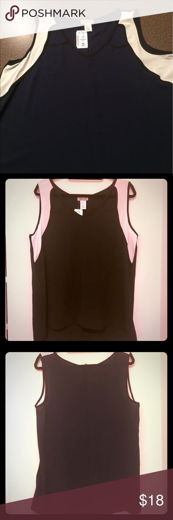 🎁 FLASH HOLIDAY SALE!! 🎁 NWT. Deb Shop color block tank. Cutout shoulder detail. Navy blue, black trim Deb Tops Tank Tops