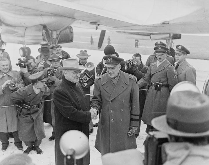 US President Harry Truman and General Dwight Eisenhower at Washington National Airport Arlington Virginia United States 31 January 1951.