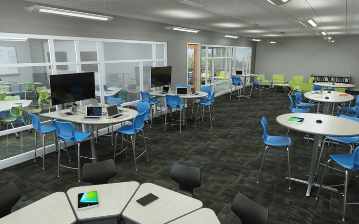 A K12 Learning Commons space featuring  Smith System Multimedia Tables, Cafe Tables, Chat Chairs and more.  #learningcommons #schoolfurniture #k12 #collaborative #21stcenturyclassroom #STEMclassroom