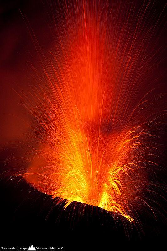 Lava Fountain of Stromboli Volcano, Italy.  Explosion! by Vincenzo Mazza, province if Messina Sicily